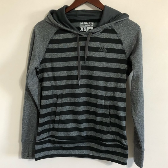 90197b0d2292 adidas Tops - Adidas Ultimate Hoodie Black Gray Striped XSmall